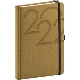 Denní diář Ajax 2022, zlatý, 15 × 21 cm