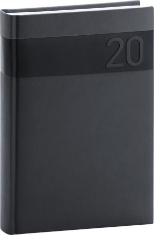 Denní diář Aprint 2020, černý, 15 × 21 cm