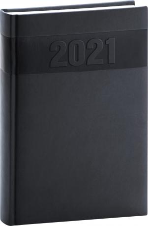 Denní diář Aprint 2021, černý, 15 × 21 cm