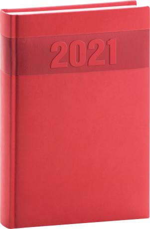 Denní diář Aprint 2021, červený, 15 × 21 cm