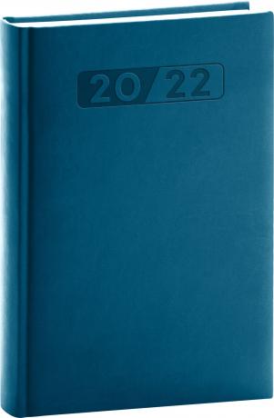Denní diář Aprint 2022, petrolejově modrý, 15 × 21 cm