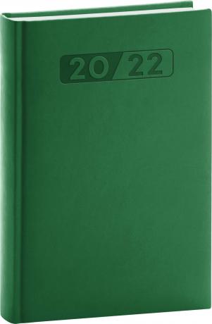 Denní diář Aprint 2022, zelený, 15 × 21 cm