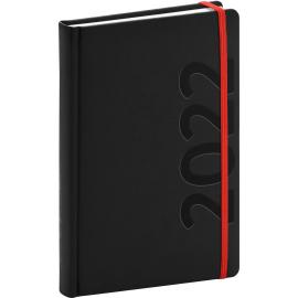Denní diář Avilla 2022, černočervený, antibakteriální, 15 × 21 cm