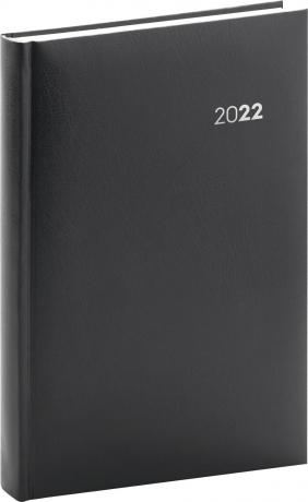 Denní diář Balacron 2022, černý, 15 × 21 cm