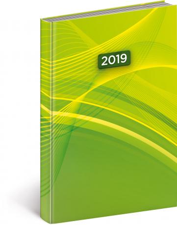 Denní diář Cambio 2019, zelený, 15 x 21 cm