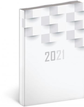 Denní diář Cambio Classic 2021, bílý, 15 × 21 cm