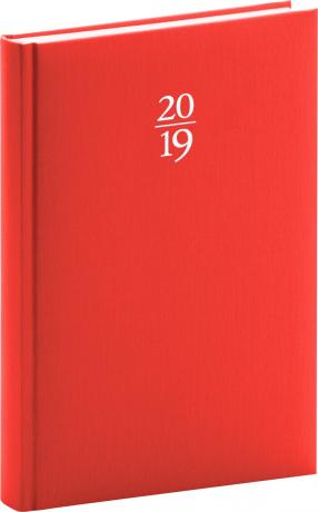 Denní diář Capys 2019, červený, 15 x 21 cm