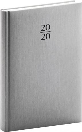 Denní diář Capys 2020, stříbrný, 15 × 21 cm