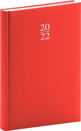 Denní diář Capys 2022, červený, 15 × 21 cm