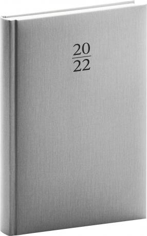 Denní diář Capys 2022, stříbrný, 15 × 21 cm