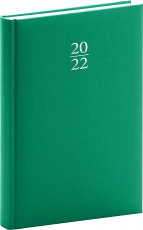 Denní diář Capys 2022, zelený, 15 × 21 cm