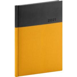 Denní diář Dado 2021, žlutočerný, 15 × 21 cm
