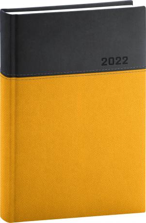 Denní diář Dado 2022, žlutočerný, 15 × 21 cm