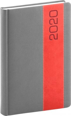 Denní diář Davos 2020, šedočervený, 15 × 21 cm