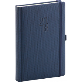 Daily diary Diamante 2018, modrý, 15 x 21 cm, A5