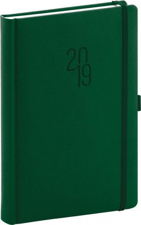 Denní diář Diamante 2019, zelený, 15 x 21 cm