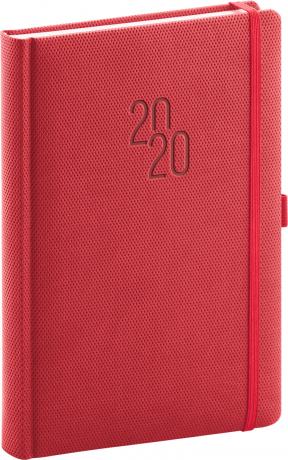 Denní diář Diamante 2020, červený, 15 × 21 cm