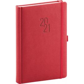 Denní diář Diamante 2021, červený, 15 × 21 cm