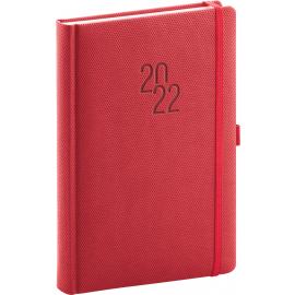 Denní diář Diamante 2022, červený, 15 × 21 cm