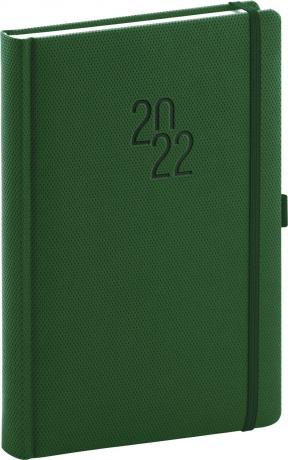 Denní diář Diamante 2022, zelený, 15 × 21 cm