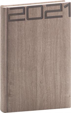 Denní diář Forest 2021, hnědý, 15 × 21 cm