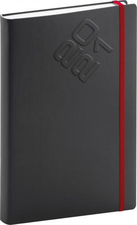Denní diář Matra 2021, černočervený, 15 × 21 cm