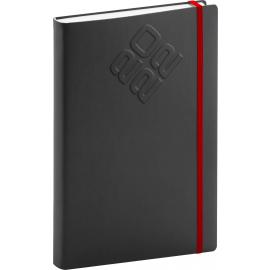 Denní diář Matra 2022, černočervený, 15 × 21 cm