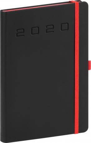 Denní diář Nox 2020, černý-červený 15 × 21 cm