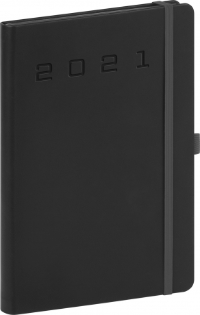 Denní diář Nox 2021, černý-černý, 15 × 21 cm