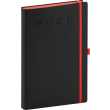 Denní diář Nox 2022, černý–červený, 15 × 21 cm