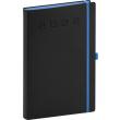 Denní diář Nox 2022, černý–modrý, 15 × 21 cm
