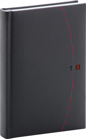 Denní diář Tailor 2018, černočervený, 11 x 17 cm, B6