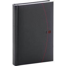 Daily diary Tailor 2018, černočervený, 15 x 21 cm, A5