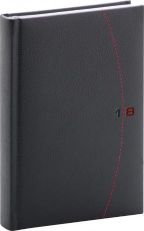 Denní diář Tailor 2018, černočervený, 15 x 21 cm, A5