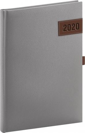Denní diář Tarbes 2020, stříbrný 15 × 21 cm