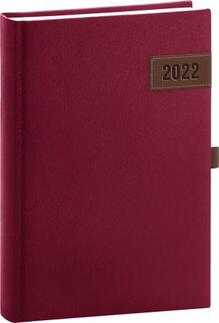 Denní diář Tarbes 2022, červený, 15 × 21 cm