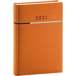 Denní diář Tomy 2021, oranžovočerný, 15 × 21 cm