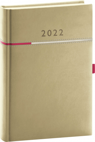Denní diář Tomy 2022, béžovorůžový, 15 × 21 cm