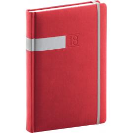 Daily diary Twill 2018, červenostříbrný, 15 x 21 cm, A5