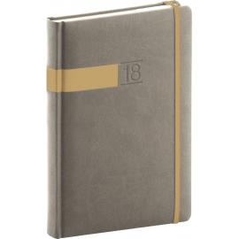 Daily diary Twill 2018, šedozlatý, 15 x 21 cm, A5