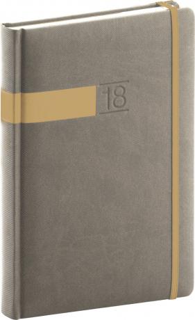 Denní diář Twill 2018, šedozlatý, 15 x 21 cm, A5