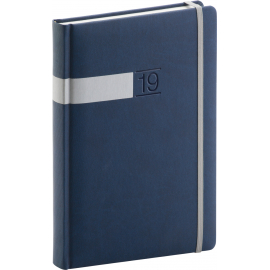 Daily diary Twill blue-silver 2019, 15 x 21 cm