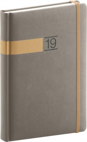 Denní diář Twill 2019, šedý, 15 x 21 cm