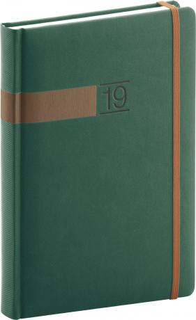 Denní diář Twill 2019, zelený, 15 x 21 cm