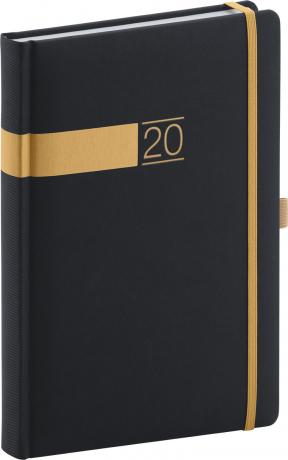 Denní diář Twill 2020, černozlatý 15 × 21 cm