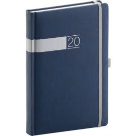 Denní diář Twill 2020, modrostříbrný 15 × 21 cm