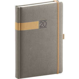 Daily diary Twill gray-gold 2020, 15 × 21 cm
