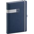 Denní diář Twill 2021, modrostříbrný, 15 × 21 cm