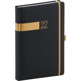 Denní diář Twill 2022, černozlatý, 15 × 21 cm