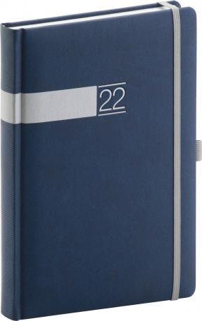 Denní diář Twill 2022, modrostříbrný, 15 × 21 cm
